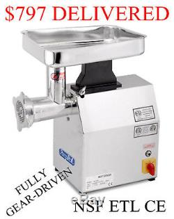 1.5 Horse Power HP Stainless Steel Commercial Meat Grinder Butcher Restaurant