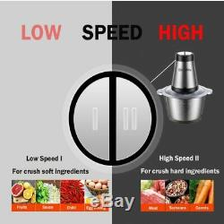 2 Speeds 500W Stainless steel 2L Capacity Electric Chopper Meat Grinder Mincer