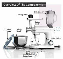 3-in-1 Stand Mixer 7QT stainless steel bowl with Meat Grinder& Juice Extractor