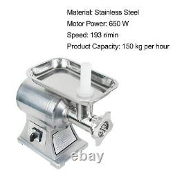 650W Electric Meat Grinder Sausage Stuffer Mincer Food Grinding Stainless Steel