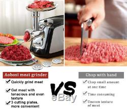 Aobosi Electric Meat Grinder 3-in-1 Stainless Steel Mincer 3 Grinding Plates NEW