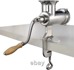 CAM2 304 Stainless Steel Heavy Duty Manual Meat Grinder #10 Clamp-On Hand Grinde