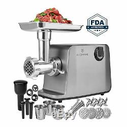 ChefWave 1800W Electric Meat Grinder Max 3-Speed, Stainless Steel + Accessories