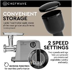 ChefWave Electric Meat Grinder FDA Certified Stainless Steel Heavy Duty 1800