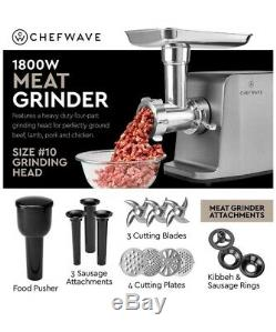 ChefWave Electric Meat Grinder Stainless Steel 1800W 4 Grinder Plates