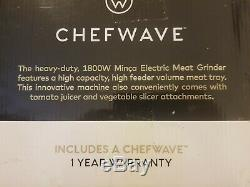 ChefWave Electric Meat Grinder Stainless Steel Heavy Duty 1800W Max 3-Speed Accs