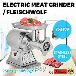 Commercial Grade 1HP Electric Meat Grinder 750W Stainless Steel Heavy Duty #22