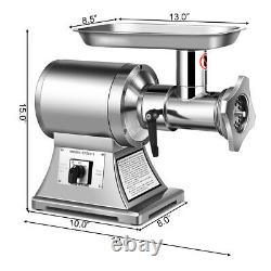 Commercial Grade Meat Grinder Stainless Steel Heavy Duty 1.5HP 1100W 550LBS/h