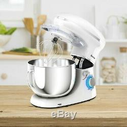 Electric Food Stand Mixer Tilt-Head Stainless Steel with Bowl 6 Speed 660W White