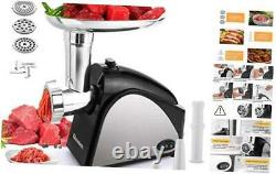 Electric Meat Grinder 2000W, Sausage Grinder with 3 Stainless Steel Black