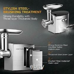 Electric Meat Grinder, CHEFFANO Stainless Steel Meat Mincer Sausage Stuffer