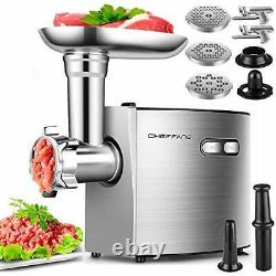 Electric Meat Grinder, CHEFFANO Stainless Steel Meat Mincer Sausage Stuffer, 200
