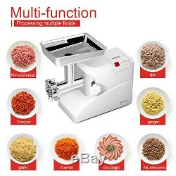 Electric Meat Grinder Sausage Maker Stuffer Stainless Steel With 3 Blades White