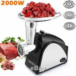 Electric Meat Grinder Sausage Stuffing Tubes 3 Stainless Grinding Plates 2000W