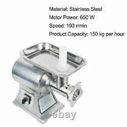 FDA 650W Commercial Household Electric Stainless Meat Grinder Machine+2 Blades