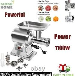 Heavy Duty Electric Meat Grinder Pusher Stainless Steel Commercial Power 1100W