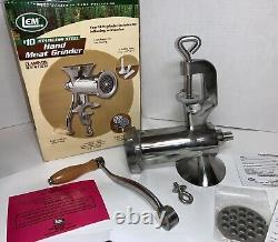 LEM #10 Stainless Steel Hand Meat Grinder Clamp On NEW COMPLETE SET