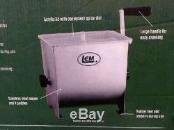 LEM #654 Stainless Steel Meat Mixer 20lb Capacity Mixer with Plastic Cover