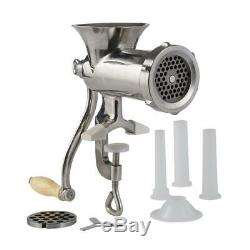 LEM Hand Meat Grinder Stainless Steel Clamp Handle Stain Resistant Blades Silver