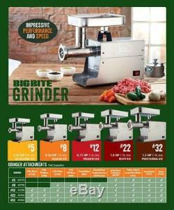 LEM Products Stainless Steel Big Bite Electric Meat Grinder Industrial. 5 HP
