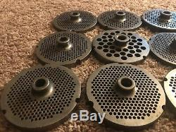 LOT OF 12 Stainless Steel Meat Grinder Plates 3248, 3249, 3245 & More 4D 1/2W