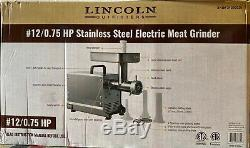 Lincoln Outfitters #12/0.75 HP Stainless Steel Electric Meat Grinder NIB