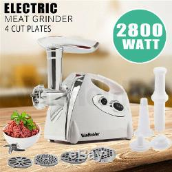 Luxury White Electric Meat Grinder Mincer Sausage Stuffer Stainless Steel 2800W