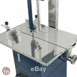 Meat Grinder Electric Sausage Maker Band Saw Stainless Steel Durable Blue Indoor