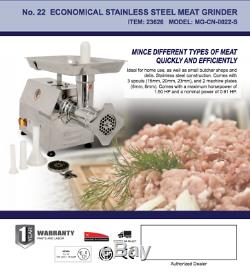 Omcan 23626 #22 STAINLESS STEEL MEAT GRINDER WITH 1.5 HP MOTOR MG-CN-0022-S