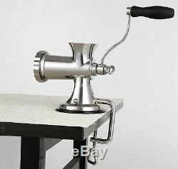 Stainless Steel Manual Meat Grinder Table Home Hand Mincer Sausage Maker