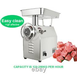 Stainless Steel Meat Grinder 1800W 770Lbs/H Blade Plate 2 Blades for Restaurant
