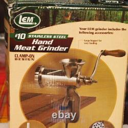 Stainless steel Hand Meat Grinder, LEM, #10, Clamp-on design