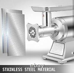 VEVOR Commercial Meat Mincer 750W 1HP 190PRM Stainless Steel Home Industrial Use