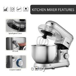 VIVOHOME Electric 6-Speed Stand Mixer Tilt-Head Stainless Steel Bowl 650W Silver