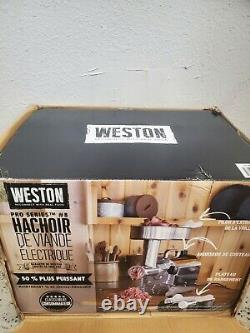 Weston 10-0801-w Pro Series #8 0.75 HP Stainless Steel Electric Meat Grinder